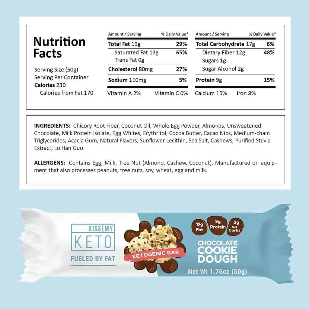 kiss my keto cookie dough nutritional information